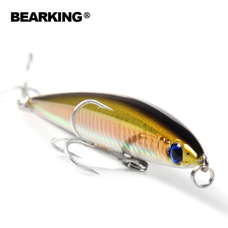 Bearking 1PCS Minnow quality Fishing Lure Laser Hard Artificial Bait 3D Eyes 12.5cm 28g Fishing Wobblers Crankbait Minnows электрогитара ibanez iron label rgib6 bk