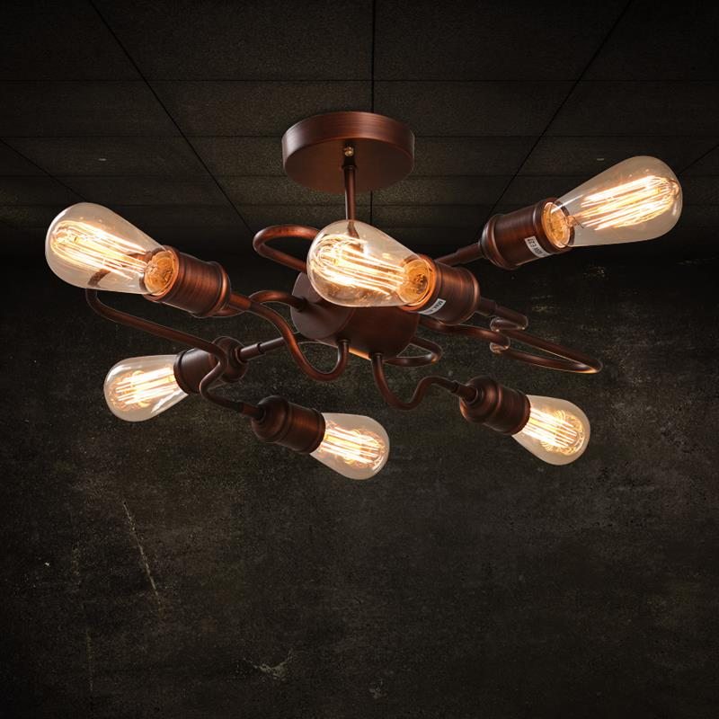 Industrial American Village Cafe Bar Restaurant Iron personality retro clothing store ceiling lamp american industrial style bar aisle clothing store personality probe background wall lamp telescopic led