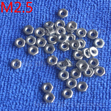 M2.5 1pcs 304 stainless steel hex nuts 2.5mm Silvery hexagon nut A2-70 nuts against rusting  No rust durable General accessories