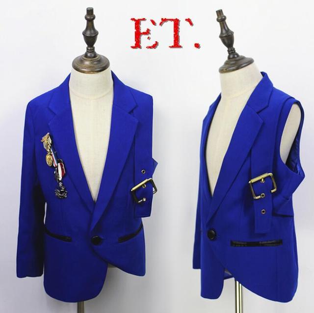 Nuevos Trajes Masculinos Delgados Blazer Azul Bordado de Lentejuelas Moda Hombres Rendimiento Traje Desgaste de la Etapa del Concierto Estrella irregular Capa de la Chaqueta