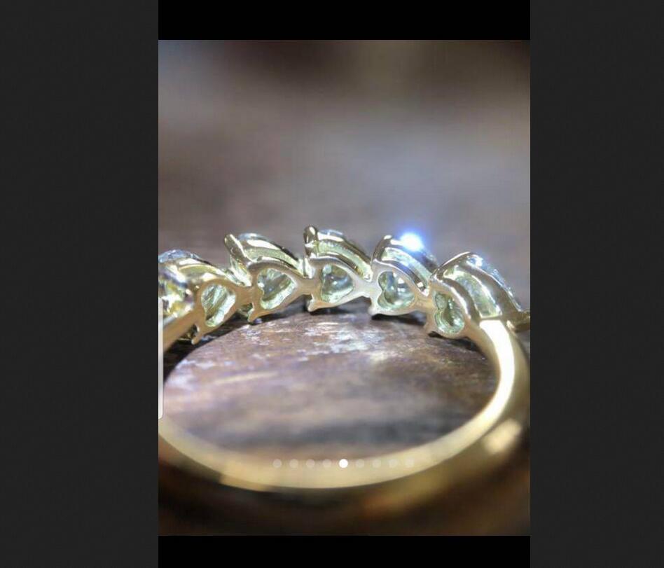 14k white gold, US 6 size, 0.3 ct each Moissanite Ring heart shape 5pcs , D-F color