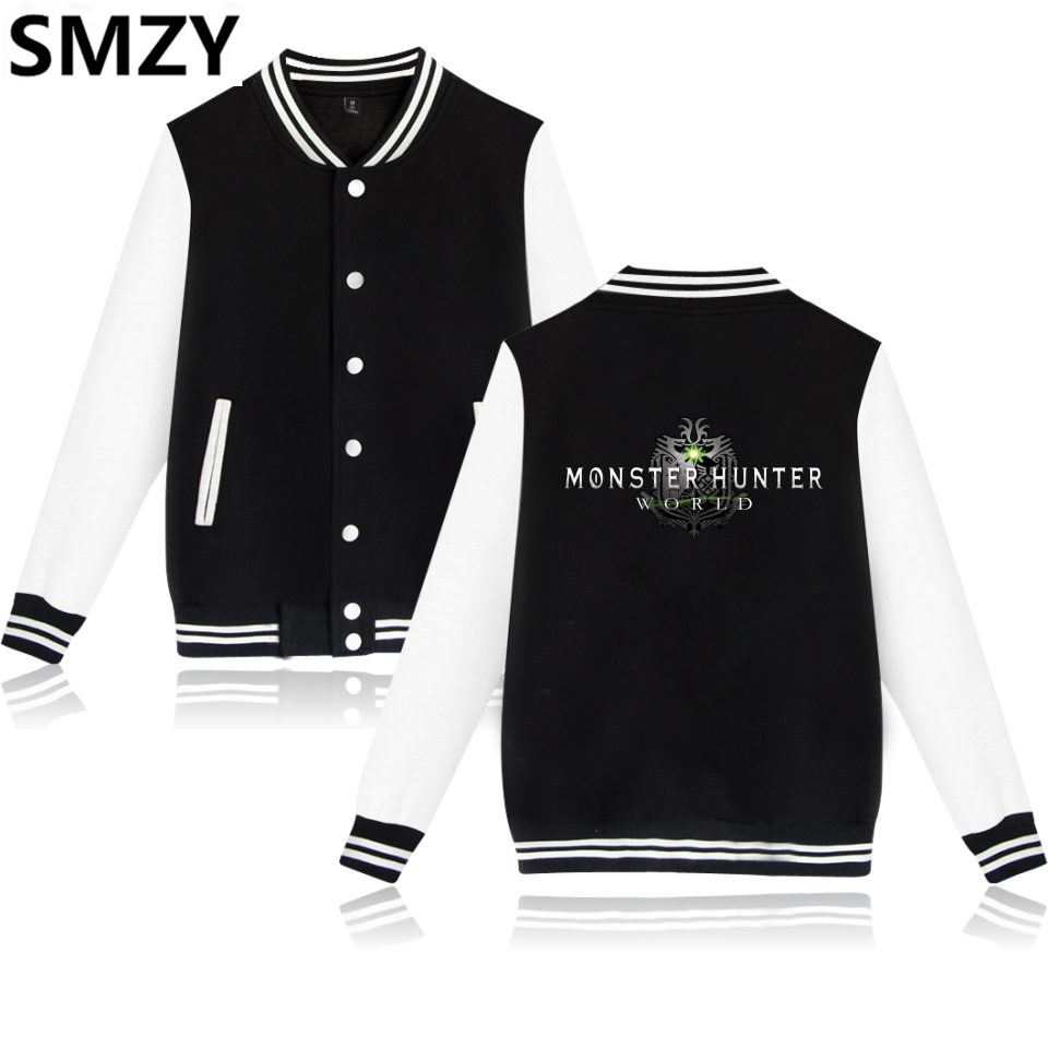 SMZY MHW Baseball Jackets Mens Winter Popular Monster Hunter World ARPG Game Hoodies Sweatshirt Tops Pullovers Hot Game Jackets