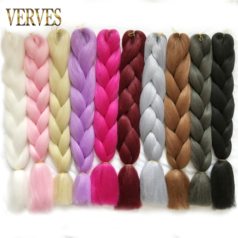 VERVES Synthetic Braiding Hair Extensions 1 Piece 24 Inch 100g/pcs High Temperature Fiber Crochet Jumbo Braids Prue Color