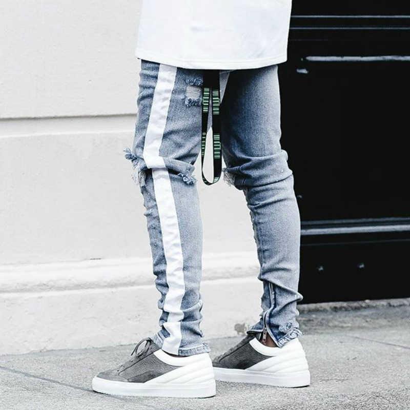 44b2eeefcc58 Beige Tape Stripe Distressing Biker Jeans Kanye West Zipped Ankles Low  Waist Skinny Jeans Free Shipping