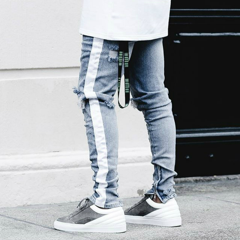 Beige Tape Stripe Distressing Biker   Jeans   Kanye West Zipped Ankles Low Waist Skinny   Jeans   Free Shipping