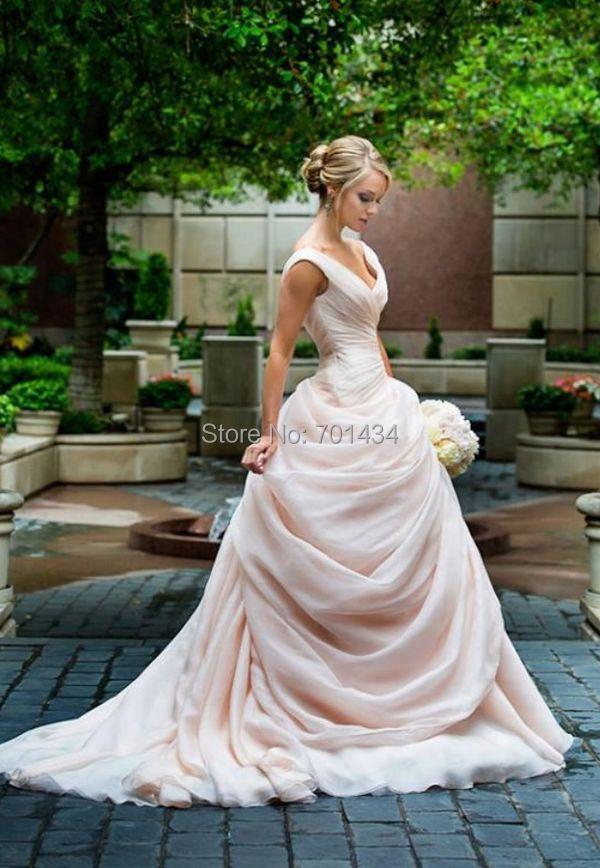 dreamed side draped organza ball gown blush pink wedding dresses 2016 vestidos de novia v