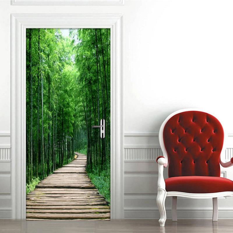 Creative 3D Door Sticker DIY Home Decor Self-Adhesive Wallpaper Bamboo Forest Small Road Bedroom Door Renovation Photo Mural 3D
