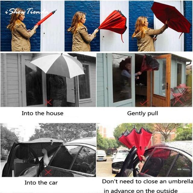 ISHOWTIENDA Hot Creative Modern Upside Down Reverse Umbrella C-Handle Double Layer Inside-Out Colors Paraguas Reverso Al Reves