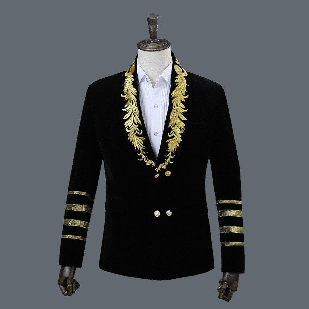 Блейзер для ночного клуба, мужской костюм, куртка,, сценические костюмы для певцов, DJ, черные мужские костюмы, пиджаки, черные блестки M - Цвет: Black