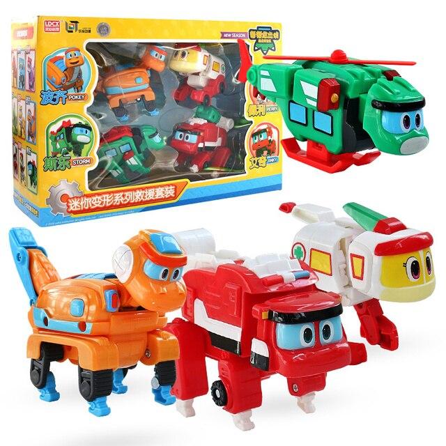 2b95aeaabd7 Min Deformation Gogo Dino Set Action Figures REX Transformation Car  Airplane Motorboat Crane Dinosaur toys for