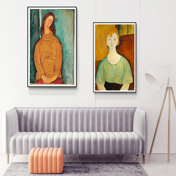 Modigliani Famous Canvas Painting Poster Print Wall Art Pictures For Living Room Bedroom Dinning Room Aisle Modern Home Decor image