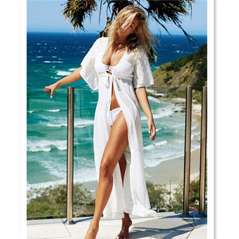 2018 Beach Cover Up Floral Embroidery Bikini Cover Up Swimwear Women Robe De Plage Beach Cardigan Bathing Suit Cover Ups Dress