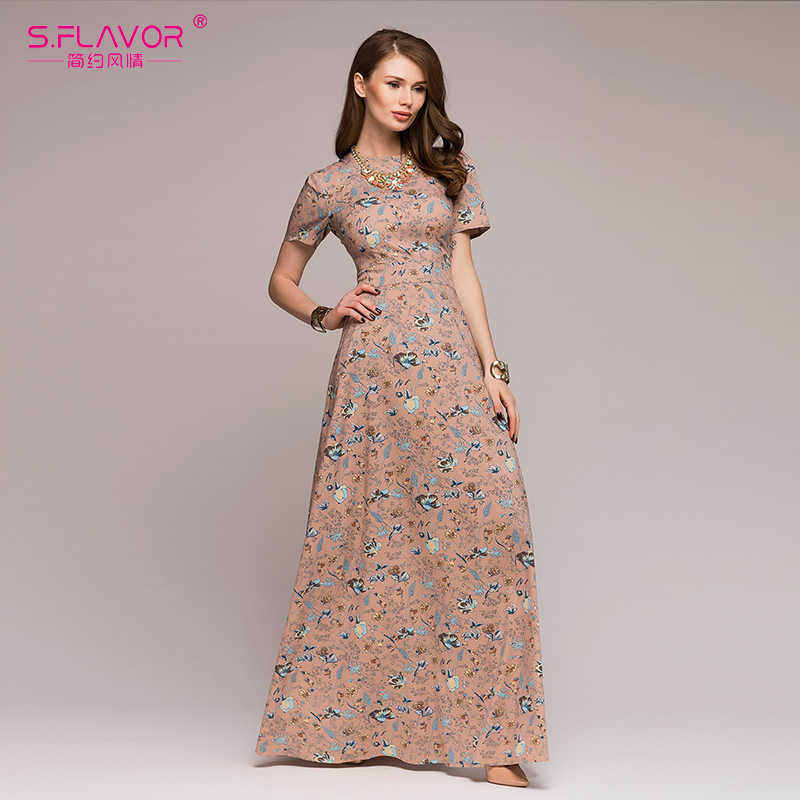 a19ccd6e3 S.FLAVOR Women Casual long dress 2019 Spring Summer fashion printing short  sleeve vestidos Bohemian