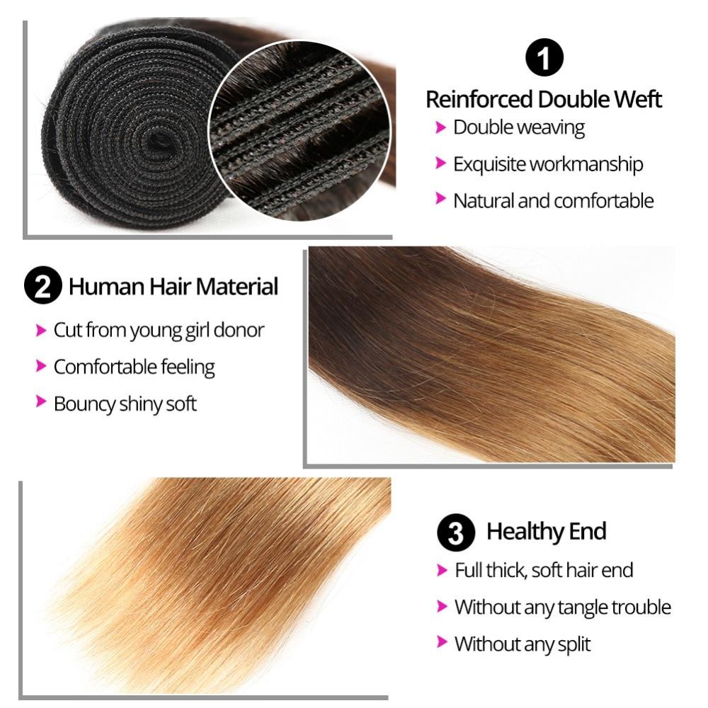 Ombre Hair Straight Hair Bundles T1B / 4/30 Brun Honung Blonde 100% - Mänskligt hår (svart) - Foto 5