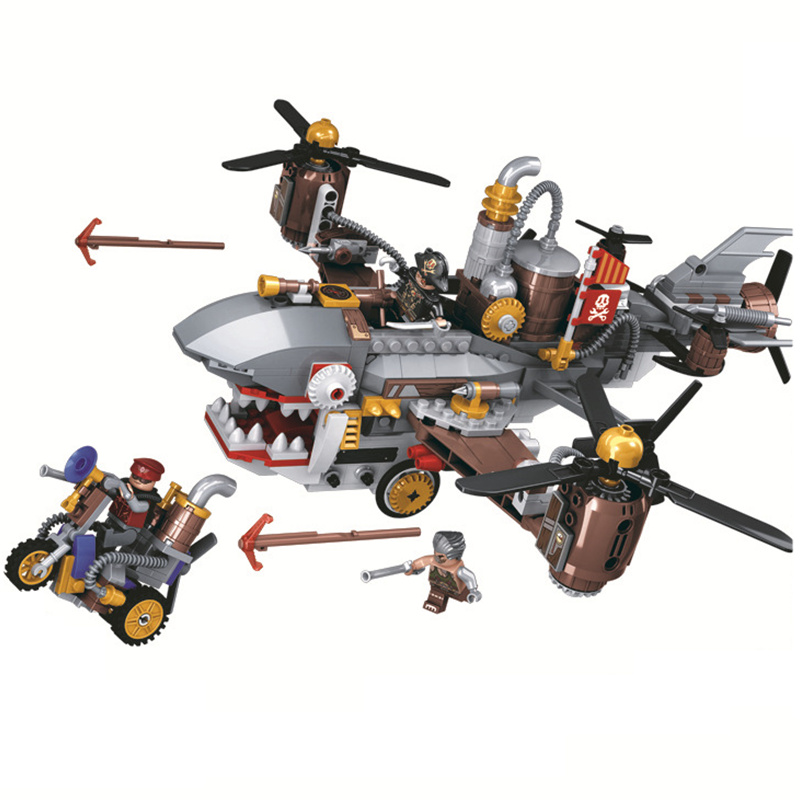 Winner Age of Steam Pirate Shark Airship Building Blocks Sets Bricks Marvel Movie Classic Model Kids Toys Compatible Legoings