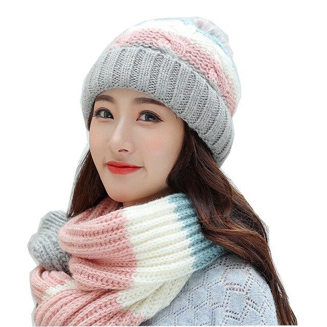 Hat female winter wool hat scarf gloves three pieces set Fashion trends  Joker sweet Lovely knit c16de5645c0
