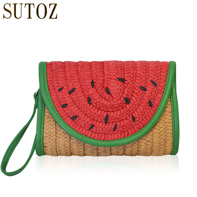 Fashion Watermelon Straw Bags Woman Knitting Handbags For Lady Bohemian Clutch Purse Pouch Handbag Beach