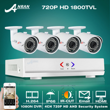 ANRAN Plug & Play CCTV Система 4CH AHD 1080N HDMI H.264 CCTV DVR 4X1.0 МП 720 P 1800TVL Водонепроницаемый Открытый Камеры Безопасности