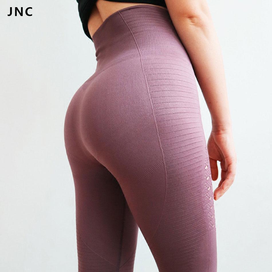 JNC Viola Senza Soluzione di Continuità Pantaloni di Yoga Tummy Controllo di Yoga Leggings A Vita Alta Leggings Sport Ranning Pantaloni Donne Palestra Calzamaglie