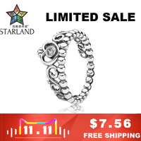 Starland Fine Detail Authentic 925 Sterling Silver My Princess Queen Crown Engagement Ring with Clear CZ Sterling-Silver-Jewelry