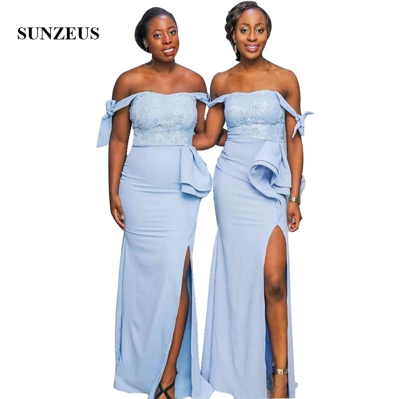Sheath Off Shoulder Straps   Bridesmaid     Dress   For Wedding Party Long Blue Wedding Guest Gowns With Lace