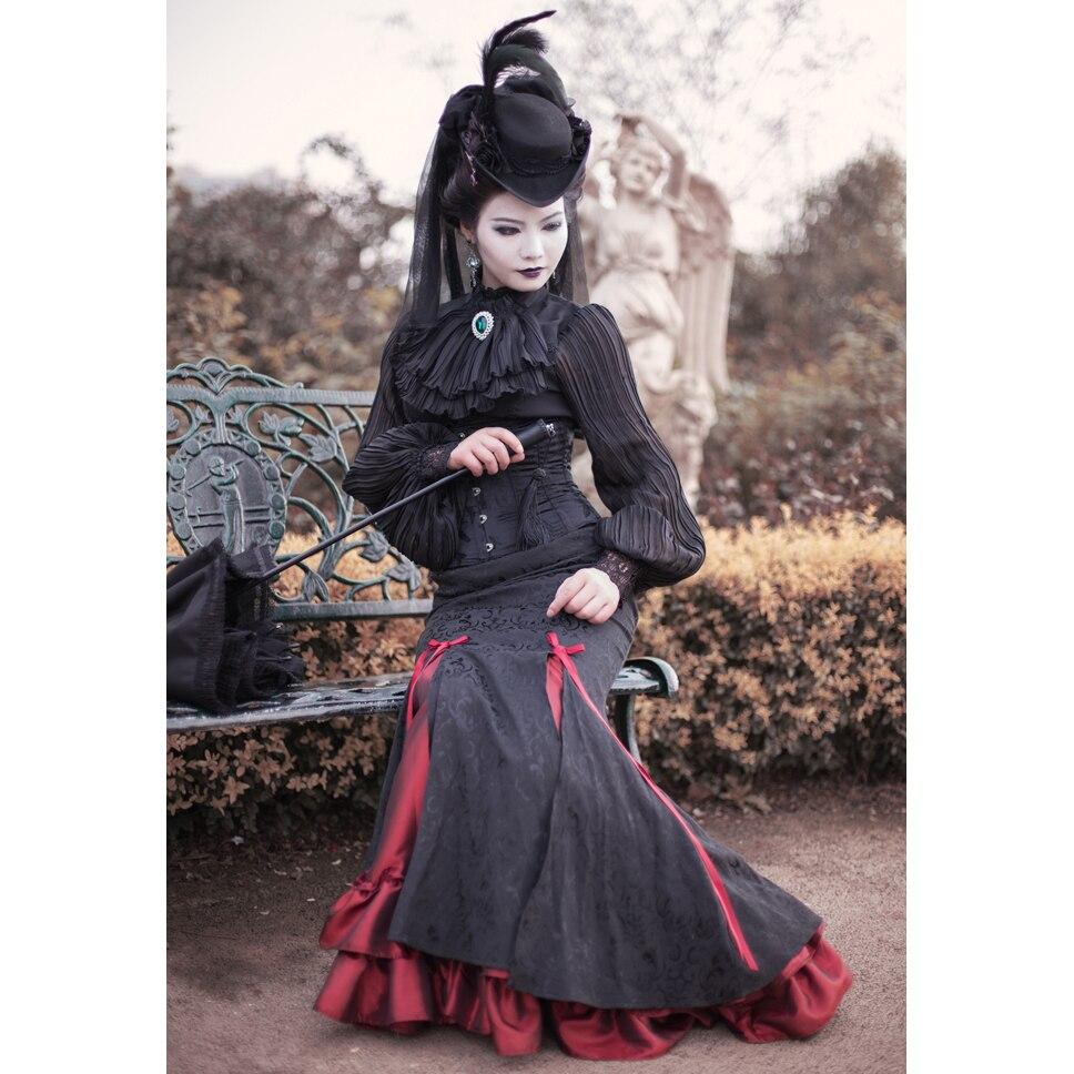 Femmes Jupe vert De Queue Lolita dames Gothique Longue Vert Mode Poisson Femmes Sirène Rouge rouge Jupes Bleu Femelle Vintage Maxi Designs 2017 qTnpwFf6x