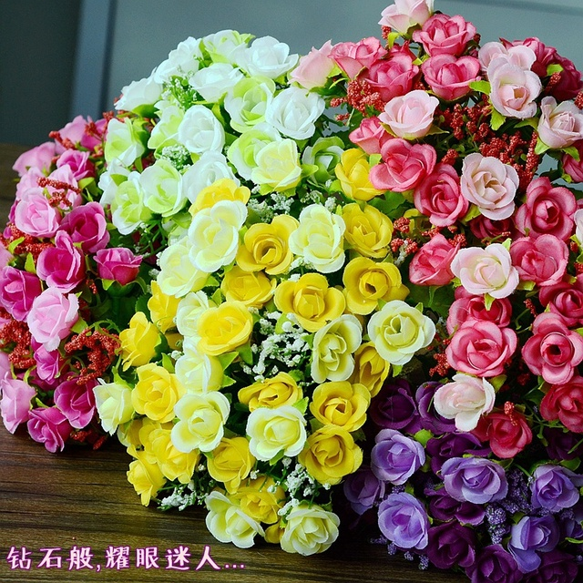 artificial silk plastic flowers fake bouquet cheap for wedding decoration mariage boda flores plants 21 diamond - Aliexpress Decoration Mariage
