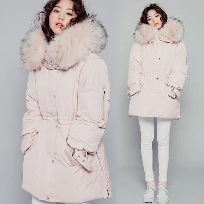 2016 outono e inverno nova gola de pele Coreano grosso grosso Magro no longa seção de Ms. jaqueta jaqueta