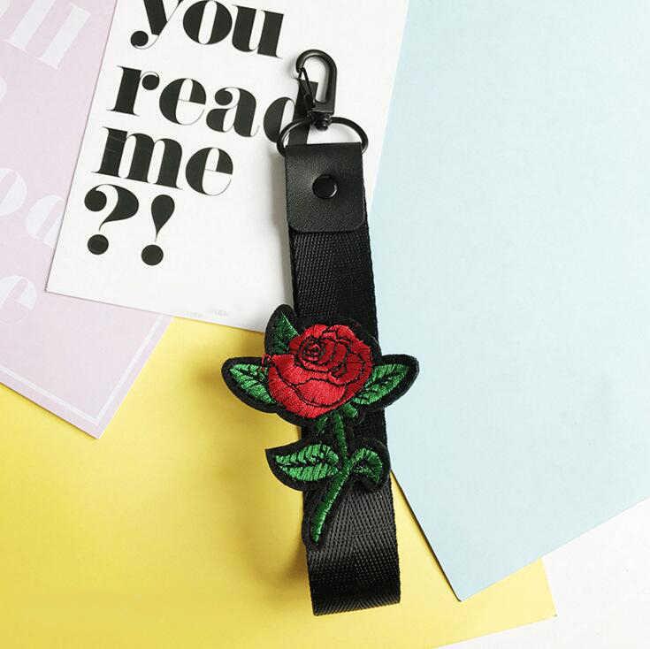 2018 nova moda rosa vermelha pulseira de pulso cordão de chaveiro de beija-flor pescoço cinta chaveiro correias do telefone móvel-swk