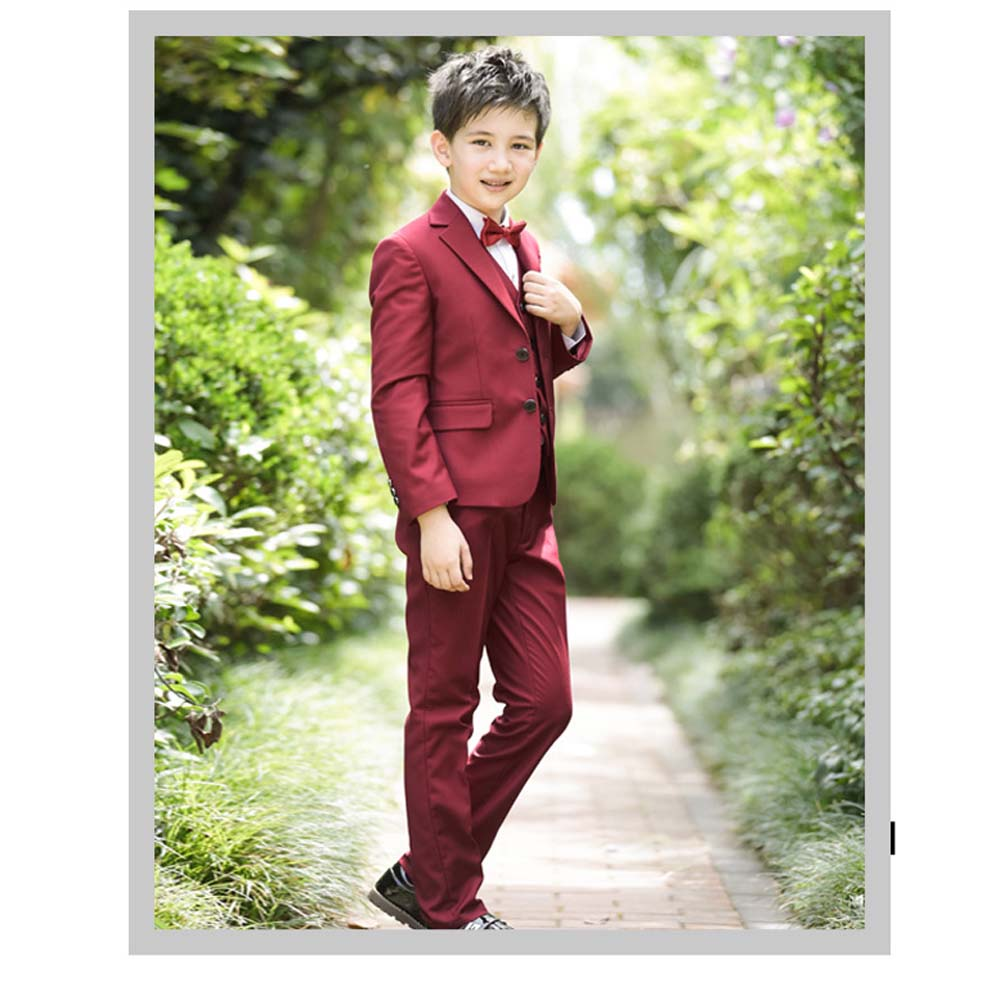 Kids Boy Suits for Weddings Boys Blazers Suit Jacket+Blouse+Tie+Pants 4 pieces/set Children Costume Garcon Marriage Clothes B081 blue boys blazer suit children vest tie blouse pants 4 pieces blazer sets for wedding autumn outwear toddler boy blazers da705