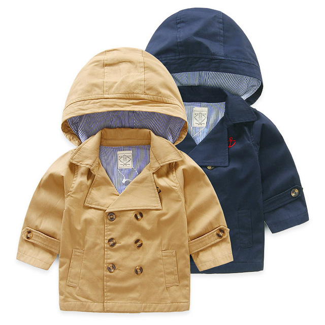 Imported-Clothing Baby Clothes Kids Windbreaker Jacket Boy Winter Outerwear Coat Children Warm Hooded Double Breasted Overcoats