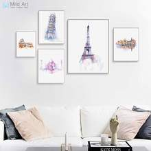 Aquarel Wereld Stad Parijs Rome Eiffeltoren Taj Mahal Posters Prints Nordic Stijl Wall Art Pictures Home Decor Canvas Schilderij(China)