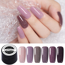 LEMOOC 5ml Gel Nail Polish Purple Pink Gray Colorful Shining Sequins Long Lasting Shiny Soak Off Art UV Varnish