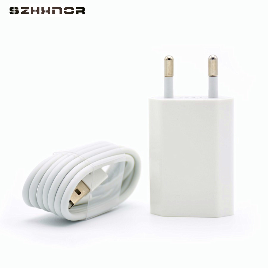 2 in 1 usb AC wall charger for iphone 7 1m 8 pin to usb data