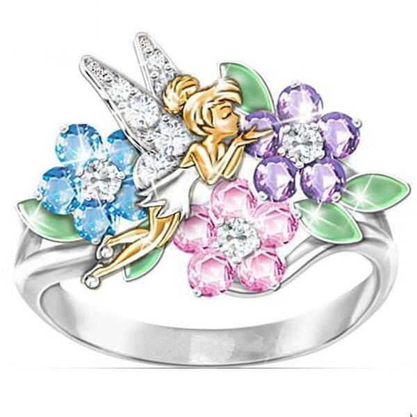Милые цветочные волшебные цветные яркие циркониевые серебряные