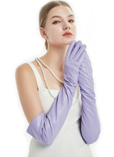 60cm(23.6) long classic back three lines sheep leather evening opera gloves light purple violet