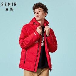 SEMIR marka gruba dorywczo modna puchowa kurtka męska czarny zielony czerwony zimowy ciepły biały puch kaczy męskie puchowe kurtki z kapturem