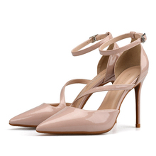 Women Pointed Toe Ankle Strap High Heels Shoes Sandals 2019 Black Beige Korean Pumps Patent Leather Sandal Shoes H0035 2017 spring and summer black high heels sandal patent leather platform shoes t strap sandals size 11 for women