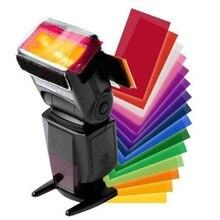 12 peças cartão de cor para strobist flash gel filtro equilíbrio de cor com faixa de borracha difusor iluminação para canon/para sony