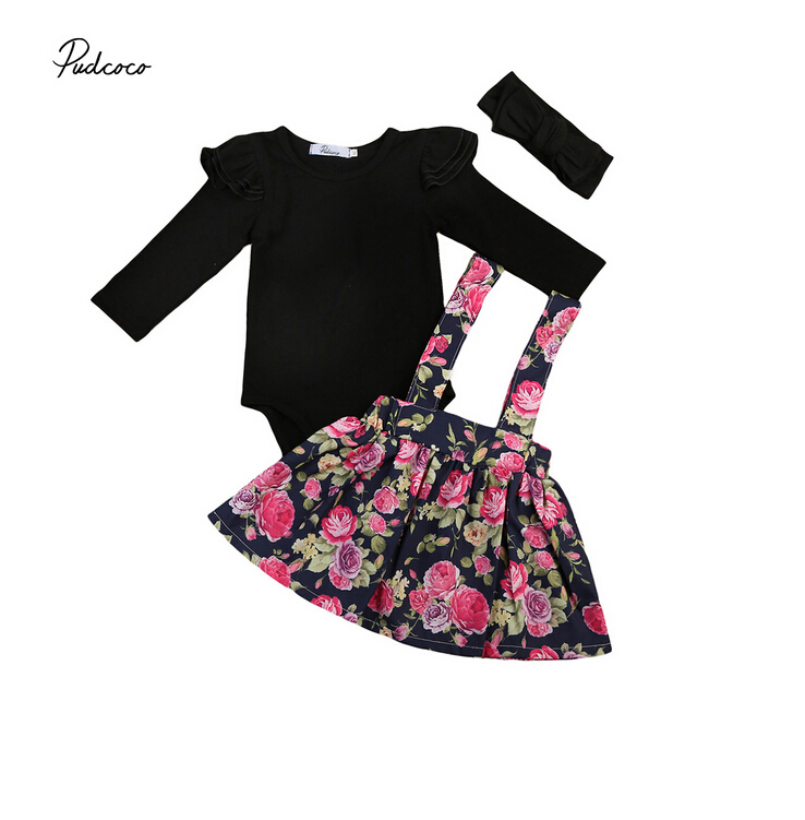 Kids Baby Girls Floral 3PCS Outfits Black Ruffles Jumpsuit Rompers Flower Print Skirts Overalls Set Pageant Princess Clothes haoyuan ruffles off shoulder bodysuit women black red combinaison femme backless sexy rompers jumpsuit skinny bodycon overalls