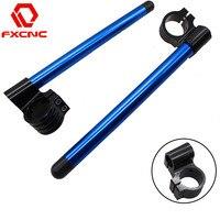 FX CNC Blue 7 8 Motorcycle HandleBars Raise Clip On Fork Handle Bars Clip On Universal