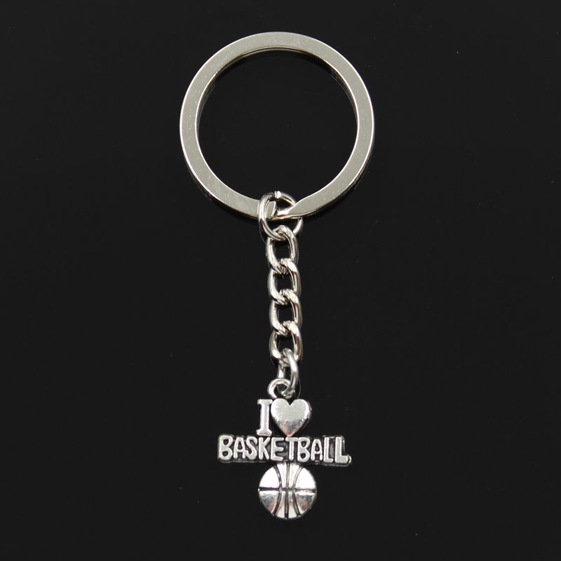 New Fashion Keychain 21x20mm I Love Basketball Pendants DIY Men Jewelry Car Key Chain Ring Holder Souvenir For Gift