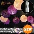 4.5M 35 Led 6CM Fairy Cotton Balls Led Christmas Lights 110V 220V  LED Decoration For Birthday Garland New Year luces de navidad