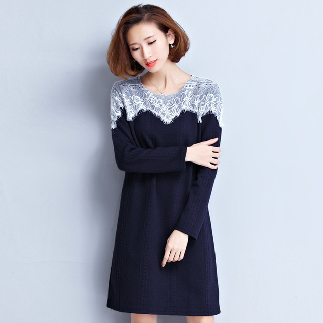 ca647f5d9 Inverno Quente Tricô Vestido Feminino Vestido Da Senhora Coreana do Grande  tamanhos de Roupas de Moda