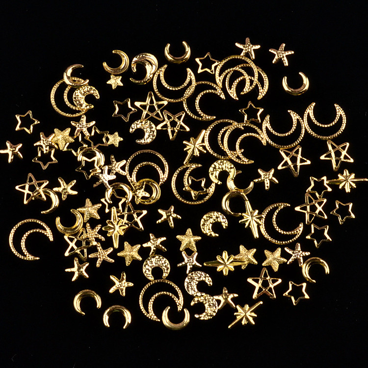 1 Bottle Metal Star Moon Drill Shell Shell Openwork Circle Gold For UV Resin Epoxy Mold  Decoration