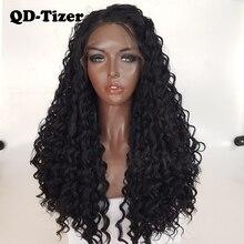 QD Tizer длинные вьющиеся парики, синтетические кружевные передние парики, безклеевые 180% черные волосы, Детские волосы из термостойкого волокна