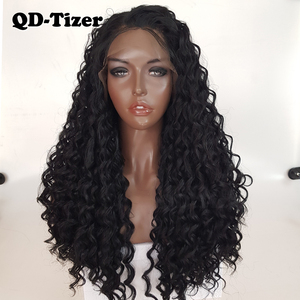 Image 1 - QD Tizer длинные вьющиеся парики, синтетические кружевные передние парики, безклеевые 180% черные волосы, Детские волосы из термостойкого волокна