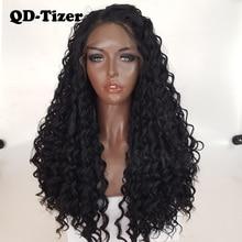 Qd tizer perucas encaracoladas longas perucas sintéticas frente do laço glueless 180% cabelo preto do bebê fibra resistente ao calor