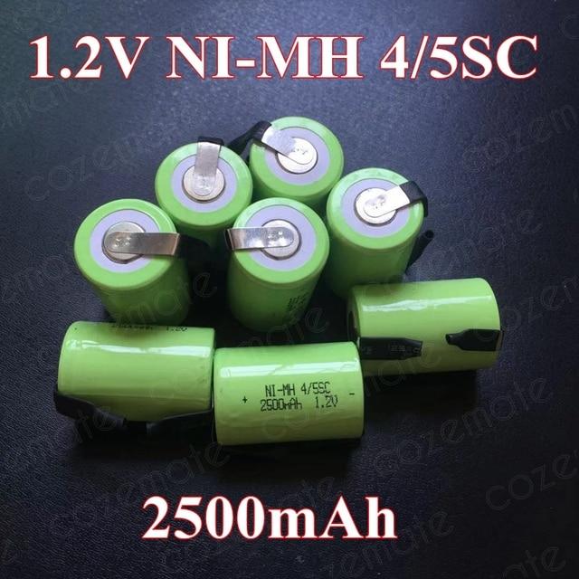 8pcs 1.2v 2500mah 4/5 Subc Sub C Sc Nimh Rechargeable Batteries Sub C 4/5 1.2v Battery Ni mh Bateria Recargable 4/5sc for 9.6v