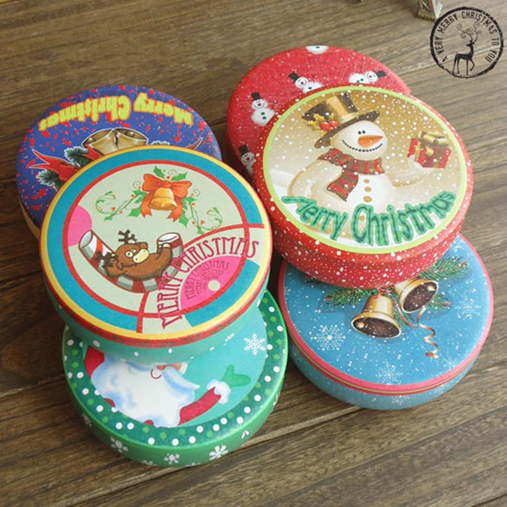 2 Styckningar / ny Nya KEYAMA julstil trumformade skräp tennlådor Godis förvaringslådor Julklappar smyckeskrin Heminredning
